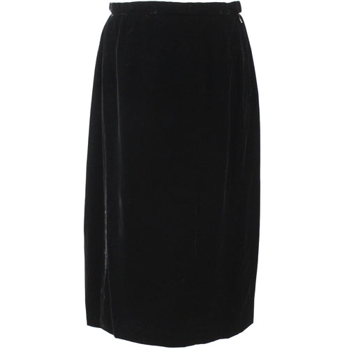 Chanel_Vintage Black Silk Velvet Evening Pencil Midi Skirt_F44