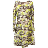Peter Pilotto Lilac & Jade Firework Print Silk Shift Dress UK10
