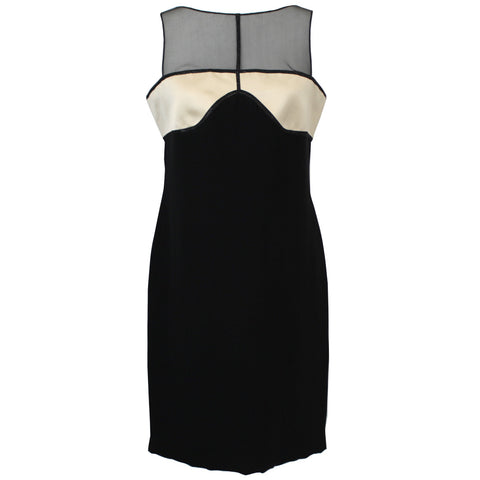 Geoffrey Beene_Black & Cream Silk Panel Shift Dress_US10