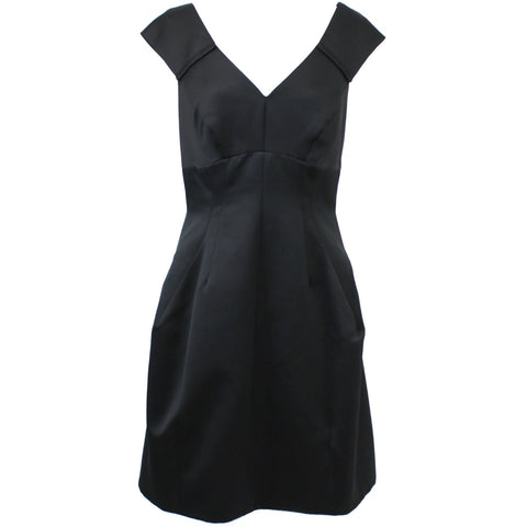 Marc Jacobs_Black Silk Faille Cap Sleeve Shift Dress_US8