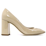 Bottega Veneta Nude Patent Intrecciato Toe Block Heel Pumps 37