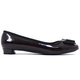 Salvatore Ferragamo Burgundy Patent Bow Vara Pumps US8