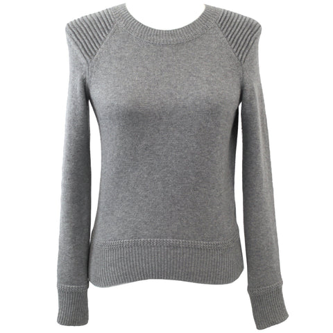 Isabel Marant Etoile_Grey Pintucked Shoulder Cotton & Wool Sweater_F34