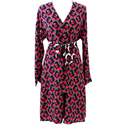 Dorothee Schumacher_Grey & Fuchsia Floral Belted Dress_Sz3