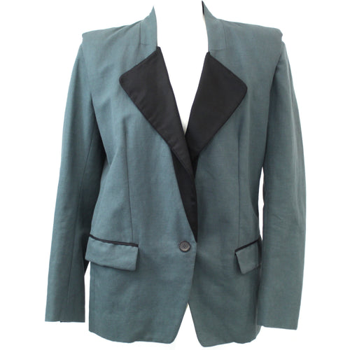 Isabel Marant_Dark Teal Cotton & Linen Longline Jacket_F40