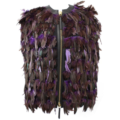 Marni_Purple & Brown Feather Zip Front Cape_I44
