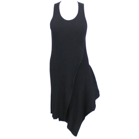 Stella McCartney_Black Rib Knit Asymmetric Dress_I42