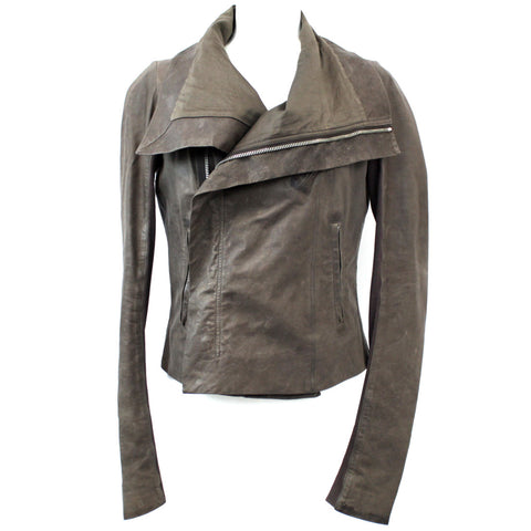 Rick Owens_Brown Calf Leather Zippered Biker Jacket_I44
