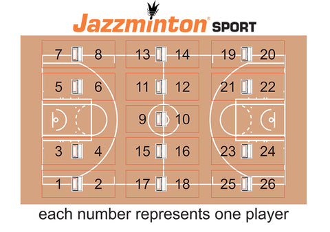 Jazzminton Sport for schools layout. Jazzminton Sport paddle ball game can be used in gyms up to 26 students at one time for a regulation size gym. This would be great for introducing kids to paddle or racquet sports whether it is tennis, table tennis, badminton etc.