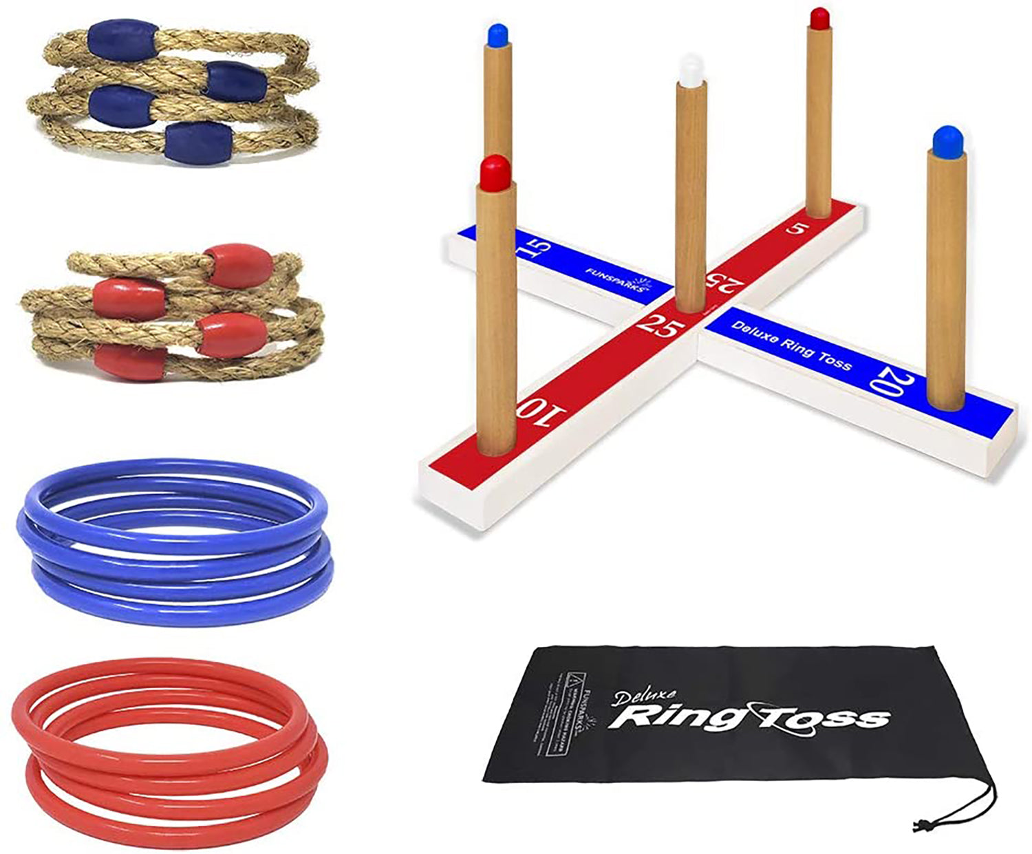 Ring Toss game set by Funsparks coemes with 16 rings, 8 rope and 8 plastic, and a carry bag