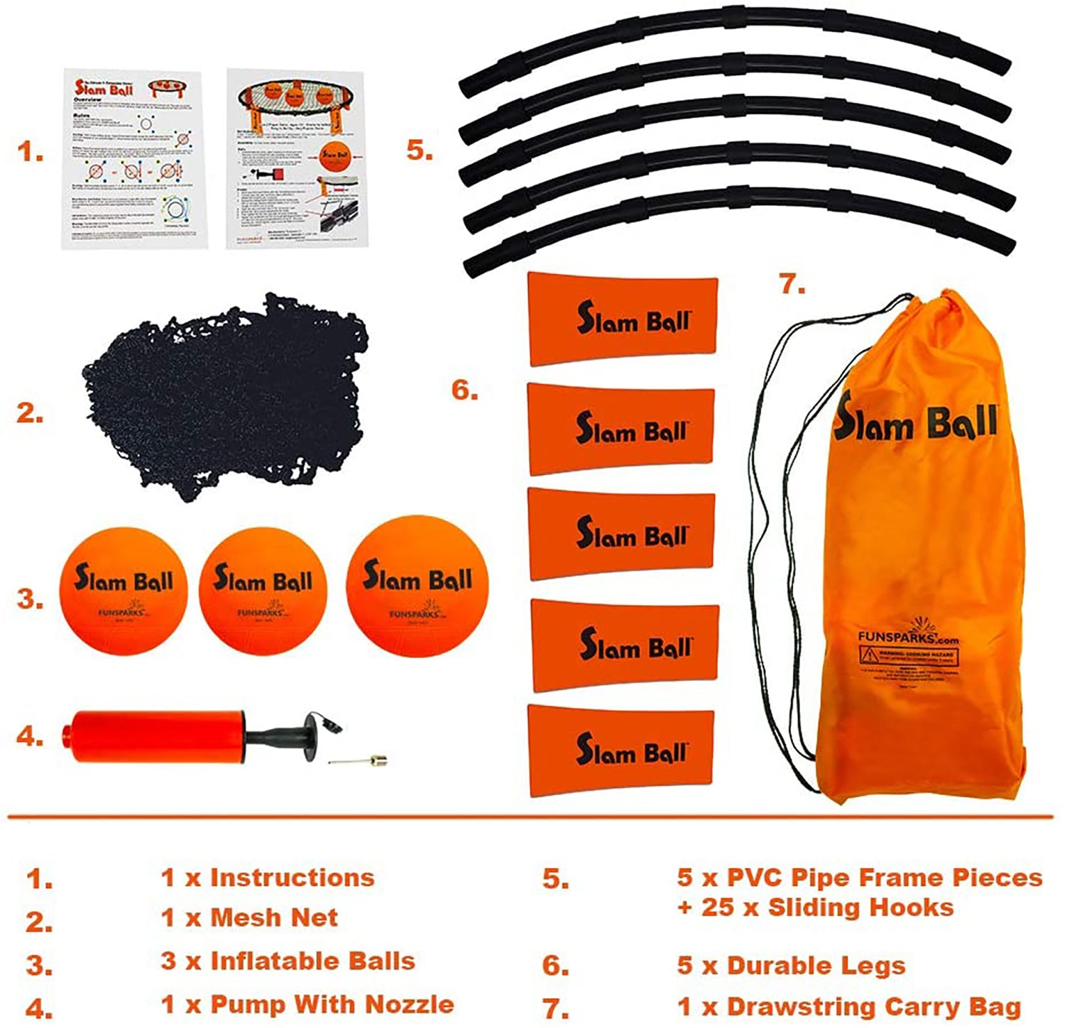 Components of Slam Ball by Funsparks