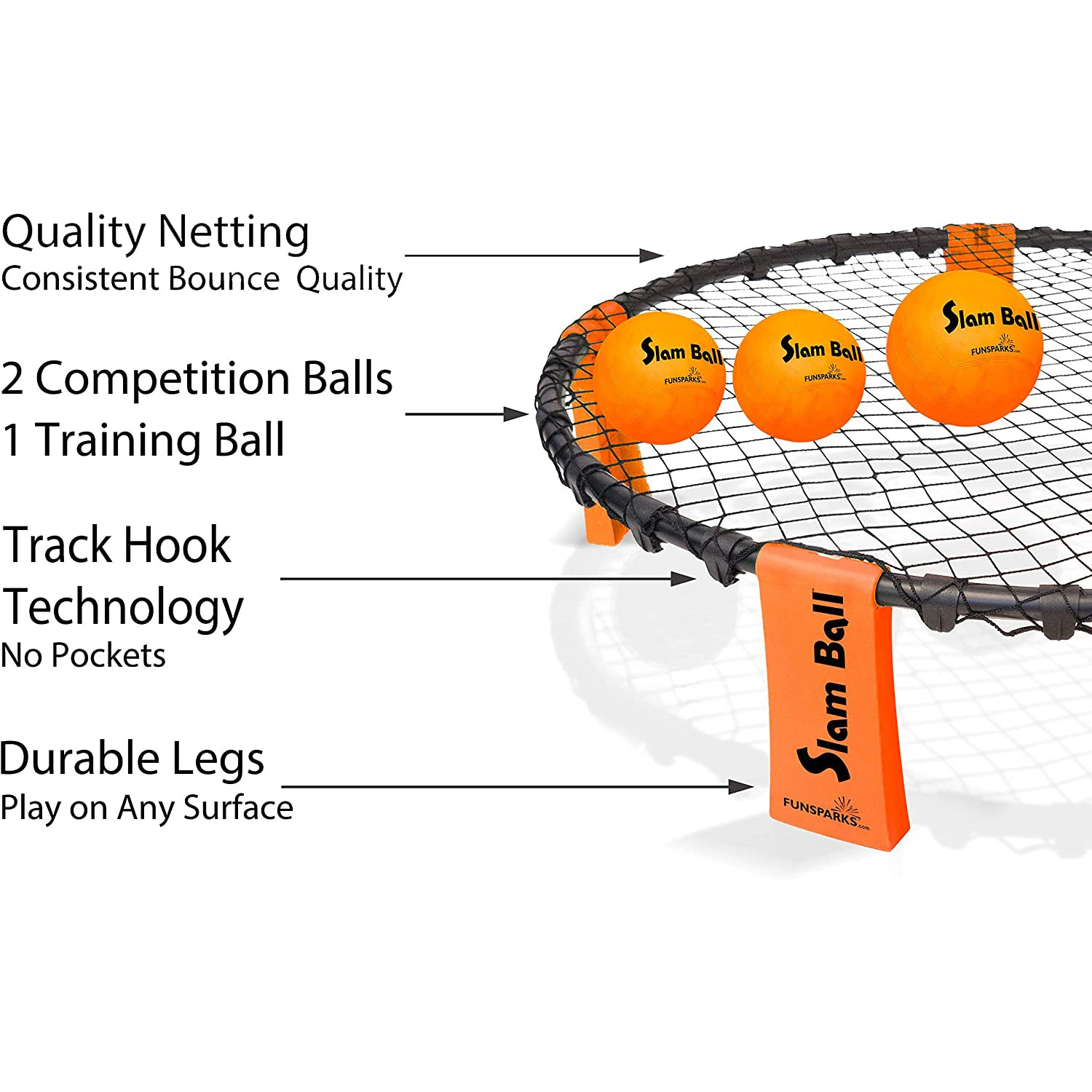Slam Ball has quality netting and track hook technology