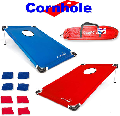 Cornhole comes with 4 red and 4 blue bean bags for play, a carry bag and rules
