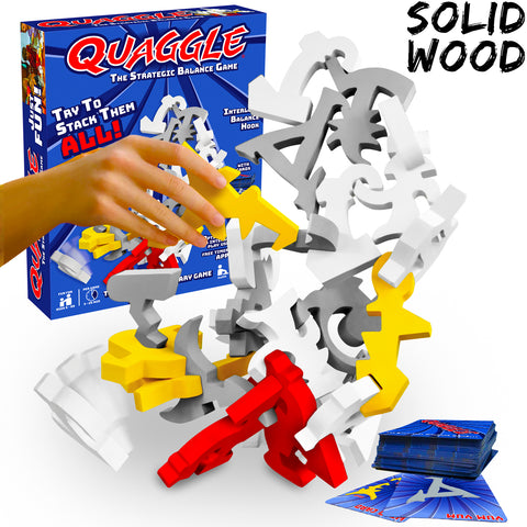 Quaggle balancing game for family and friends made of solid wood by Funsparks