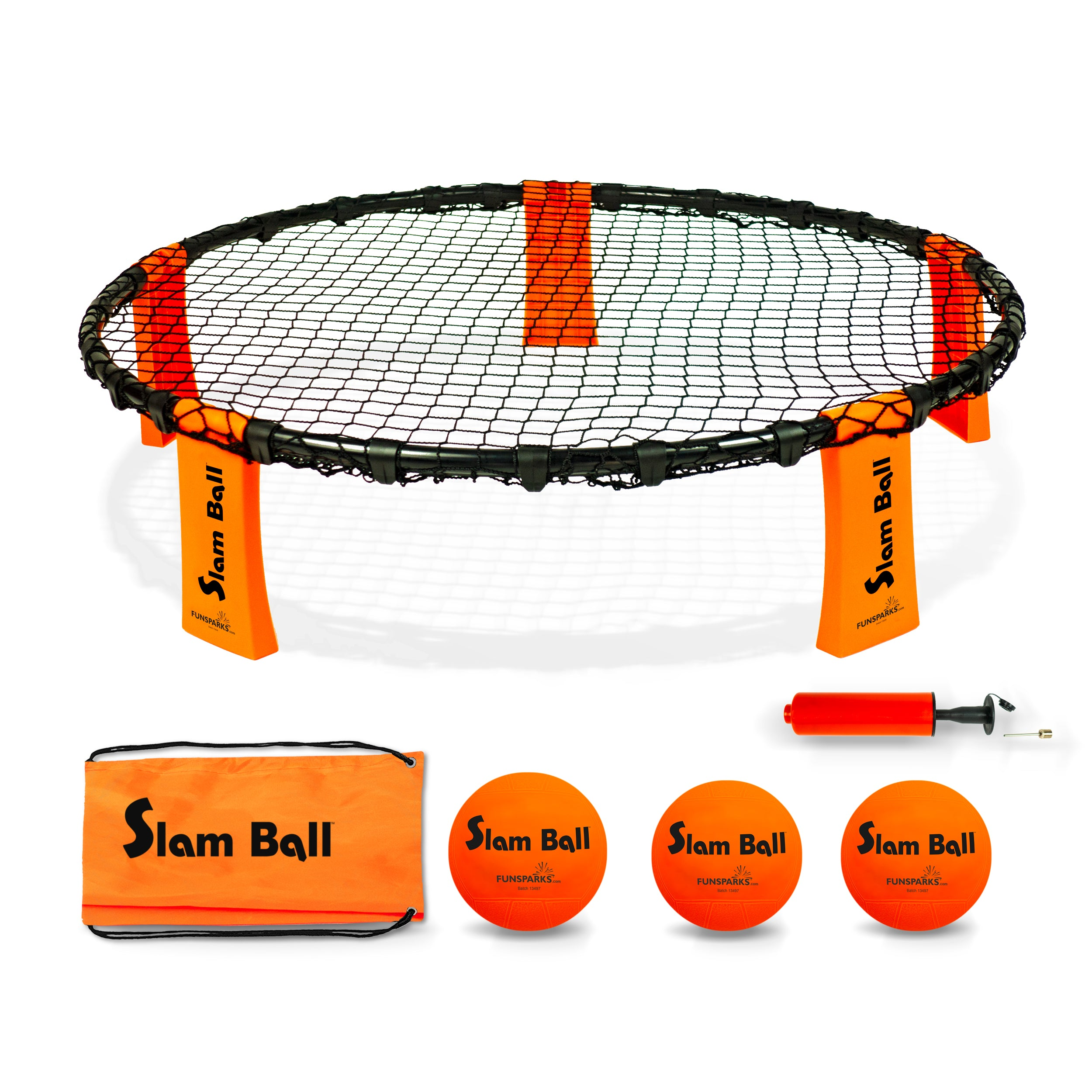 Slam ball spike game from Funsparks with 3 balls, ball pump, carry bag and net