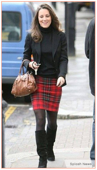 Kate Middleton kilt-and-tights combo