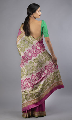 handwoven tussar with handblock printed in pink and green floral design