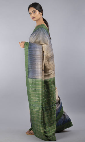 Handwoven geecha tussar silk in green floral design