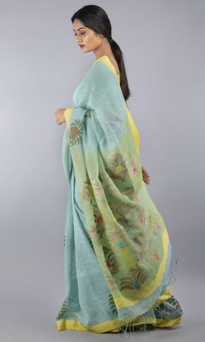 Linen jamdani in green with handblock print  floral design