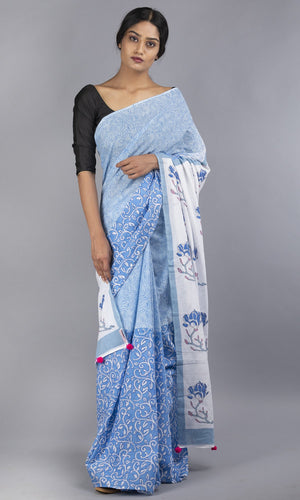 Handwoven mulmul cotton with handblock printed  blue floral design