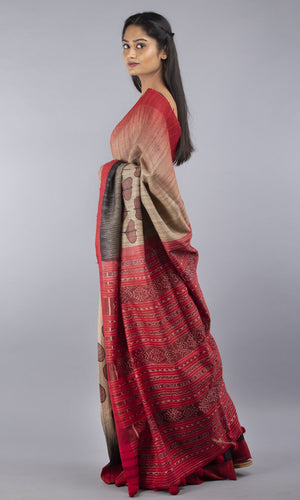 Handwoven geecha tussar silk in red and black floral design