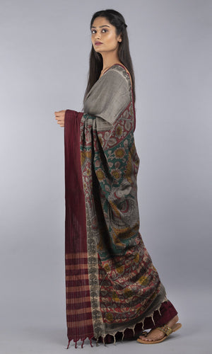 Handwoven chettinad cotton kalamkari in grey