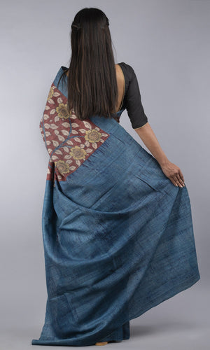 Handwoven tussar silk with handpainted kalamkari blue floral design