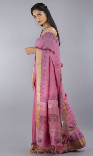 Handwoven linen in pink and gold floral design