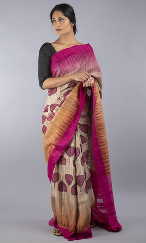 Handwoven geecha tussar silk in  pink floral design