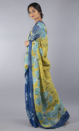 Handwoven Linen with Handpainted Batik in  blue floral design