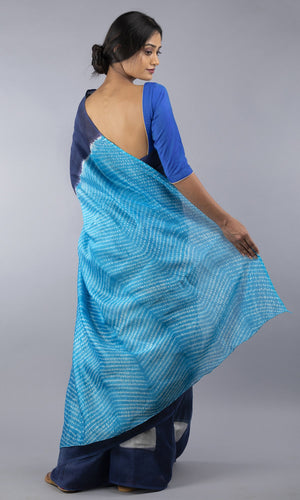 Handwoven chanderi silk cotton shibori in blue and navy blue geometric design design