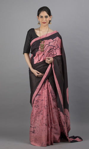 Handwoven kanchipuram silk with handpainted batik in  brown and pink floral design