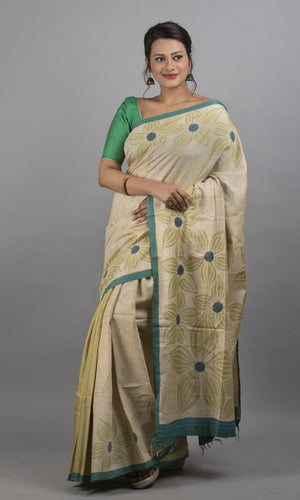 Handwoven moonga tussar with handpainted batik in green floral design