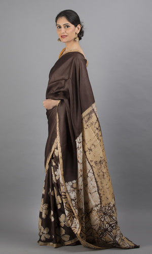 Handwoven tussar with handpainted batik in  brown floral design