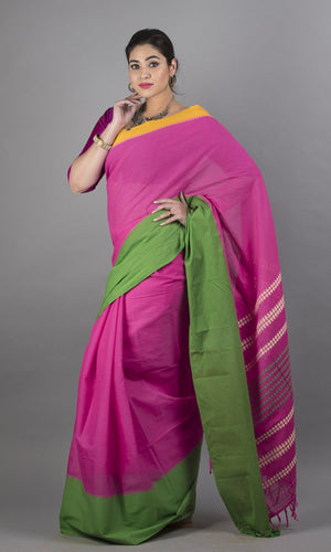 Handwoven cotton in pink with  green and yellow  border