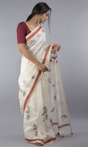 Handwoven chanderi silk cotton in cream with handblock print with red and gold border