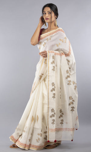 Handwoven chanderi silk cotton in cream with handblock print in gold with orange border
