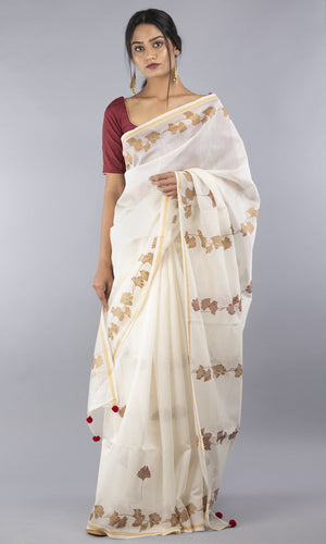 Handwoven chanderi silk cotton in cream with copper and maroon print in floral design
