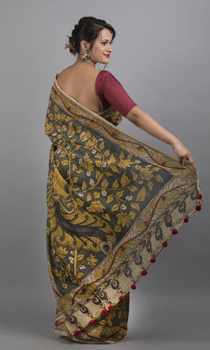 Chanderi silk cotton handpainted kalamkari in grey and mustard floral design