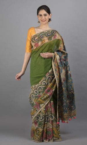 Chanderi silk cotton kalamkari in green and  pink floral design