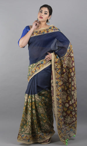 Chanderi silk cotton kalamkari in blue and green  floral design