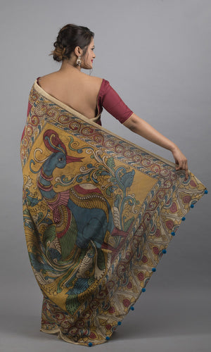 Chanderi silk cotton handpainted kalamkari in maroon and blue lotus design
