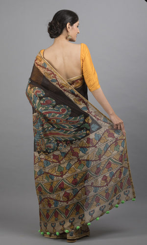 Chanderi silk cotton handpainted kalamkari in black floral design