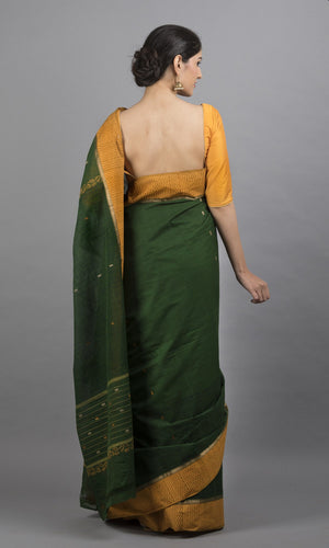 Handwoven chettinad cotton with handblock print in green with yellow border floral design