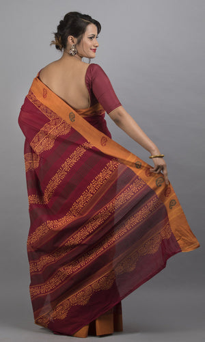 Handwoven chettinad cotton with handblock printed in maroon with yellow border geometric design