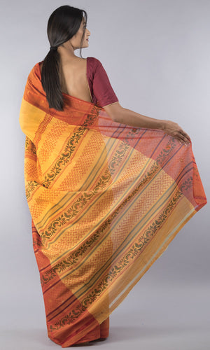 Handwoven chettinad cotton with handblock printed mustard and red floral design