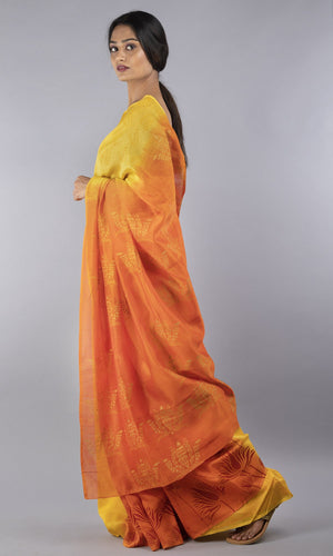 Handwoven chanderi silk cotton handblock printed in yellow and orange floral design