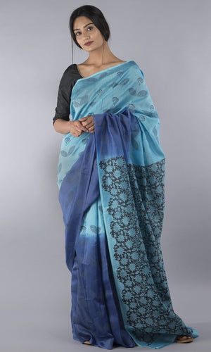 Handwoven chanderi silk cotton handblock printed in blue floral design
