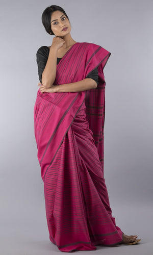 Handwoven gamcha in magenta with black horizontal lines