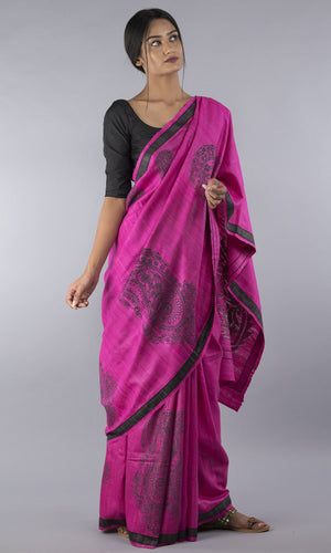 Handwoven geecha tussar in pink with applique floral design